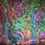 V obrazech Otto Plachta se projevuje energie ayahuasky, posvátné drogy získávané z pralesní liány. Foto: Alexandra Buršíková